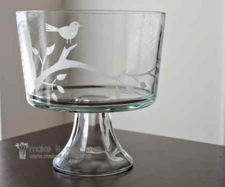 A DIY etched glass trifle bowl