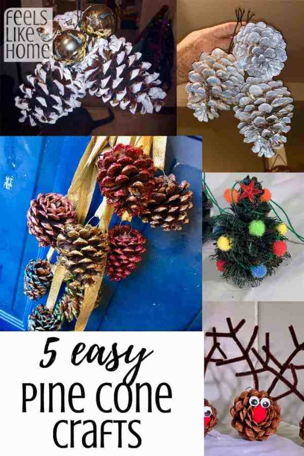 A bunch of different types of pine cone crafts