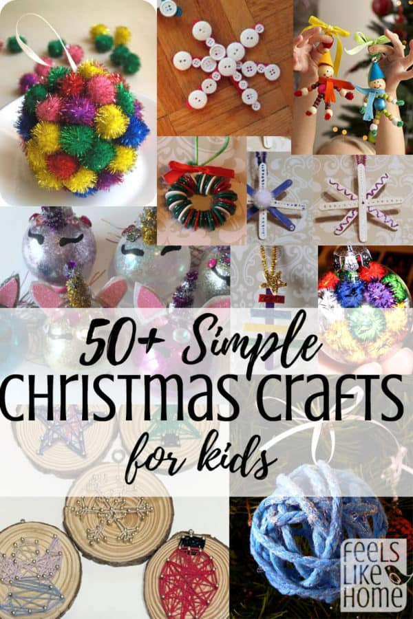 50+ simple & easy DIY Christmas tree ornaments elementary school kids from kindergarten to 5th or 6th grade - These homemade crafts include everything from pictures to paint to popsicle sticks to pipe cleaners to beads and, of course, glitter. They are a fun way to celebrate Xmas with your children, and they will make adorable decorations on your tree or great gifts for the grandparents!