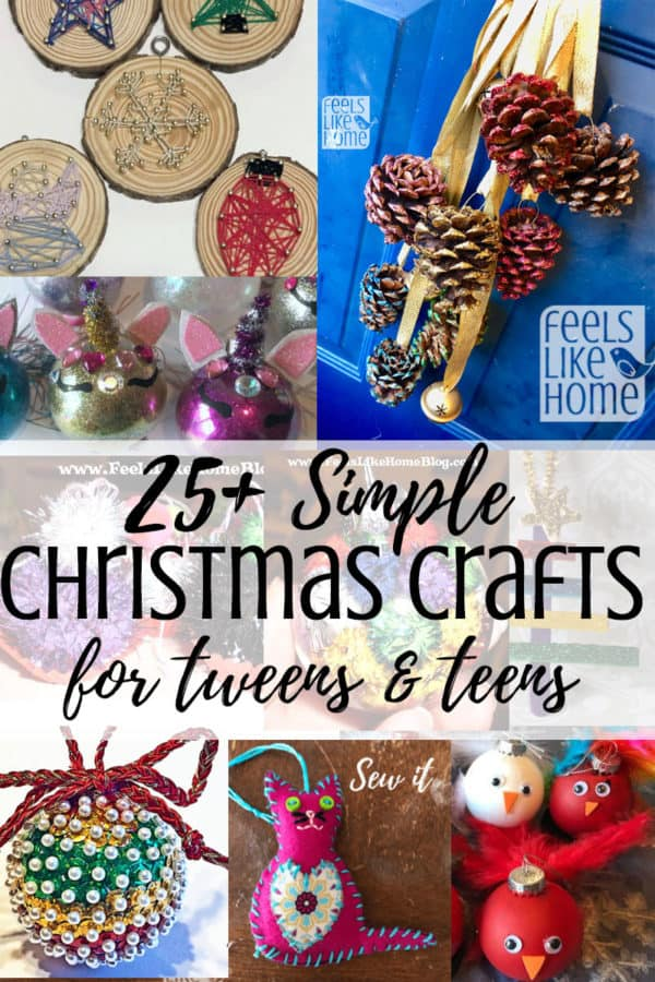 50+ simple & easy DIY Christmas tree ornaments for kids, tweens, and teens - These homemade crafts include everything from pictures to paint to popsicle sticks to pipe cleaners to beads and, of course, glitter. They are a fun way to celebrate Xmas with your children, and they will make adorable decorations on your tree or great gifts for the grandparents!