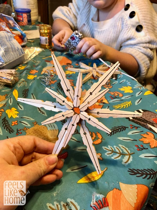 the clothespins after they\'re all glued together