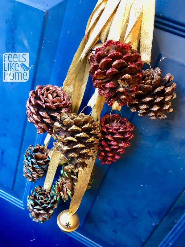 pine cone door hanger