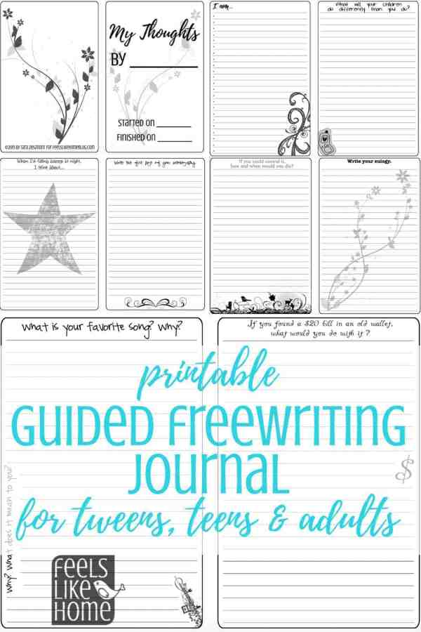This printable 74-page guided freewriting journal can be used by women and tween and teen girls. The page templates contain quotes and prompts so you will never run out of things to write about. Can be pasted into a bullet journal or assembled with a binding. Simple, fun ideas for recording your thoughts on a variety of life subjects. Awesome inspiration for students, teachers, and homeschooling.