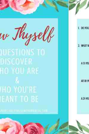 This beautiful, full color, printable 15-page guided journal can be used by women and tween and teen girls. The page templates guide the writer through a series of 50 questions, designed to get to know yourself and your desires for your life. Can be assembled with a binding for a full color journal. Simple, fun ideas for recording your thoughts on a variety of life subjects. Awesome inspiration for students, teachers, and homeschooling. Get to know yourself with these deep questions for reflection. Understand your thoughts and feelings about life. Discover truths about your happiness.