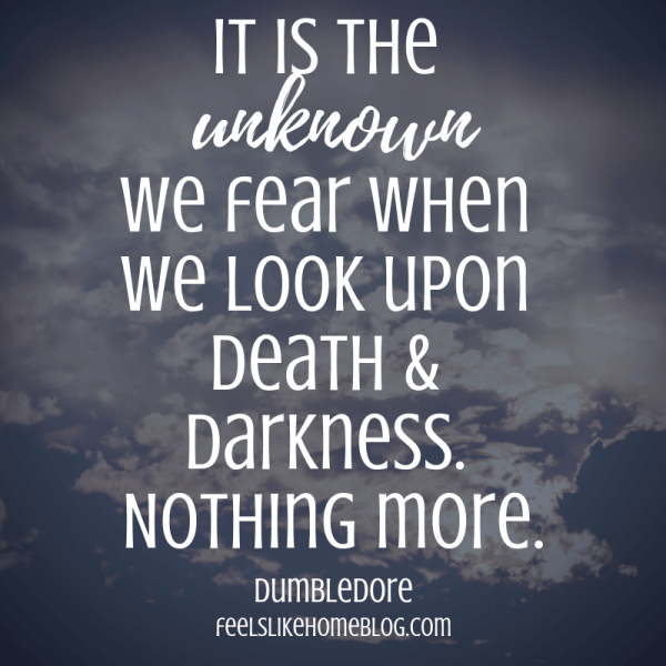 It is the unknown we fear when we look upon death & darkness. Nothing more. Awesome Harry Potter quotes from Dumbledore, Snape, Harry, Hermione, Sirius, and more. I love all these quotes to live by. The best printable quotes for a tattoo. Meaningful truths.