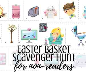 Free printable active Easter basket scavenger hunt for Easter morning - A treasure hunt is a great way to find your Easter basket. This hunt for little kids and non-readers uses pictures only as clues. Awesome active fun for toddlers, preschoolers, and kindergarteners. Great for families at home. Non-religious. Easy clues using both indoor and outdoor spots.