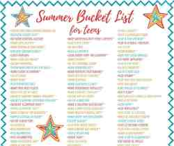 Summer bucket list - Over 100 ideas for tweens & teens, and adults too! Includes crafts, recipes, and lots of fun activities indoors and outdoors. Free printable.