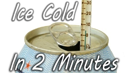 A thermometer in a can of soda pop