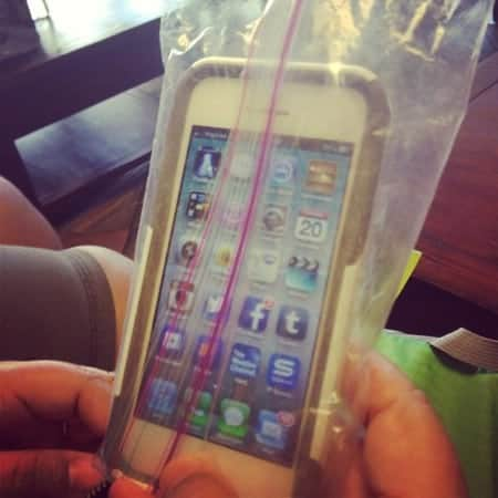A cell phone in a zippered baggie