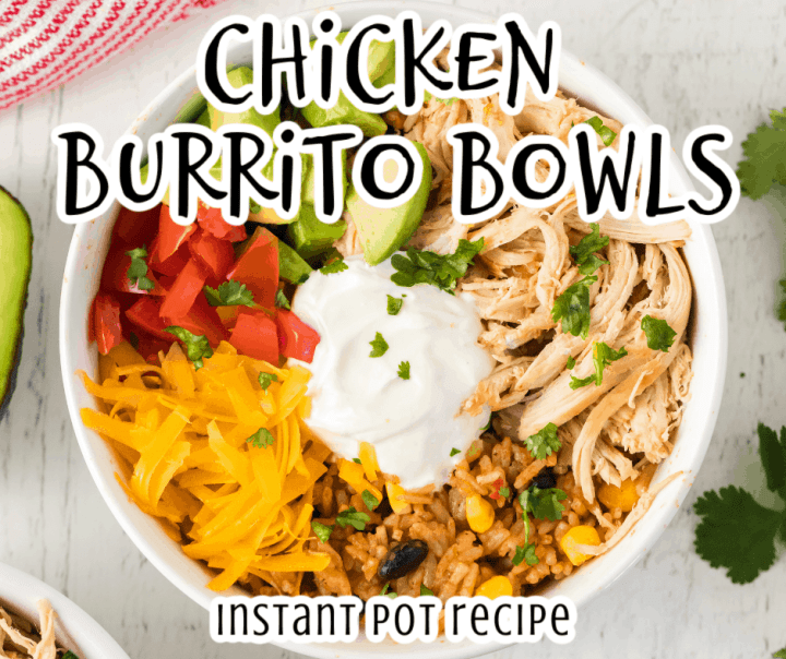 chicken, avocado, tomatoes, cheese, sour cream, rice, and beans with the Instant Pot