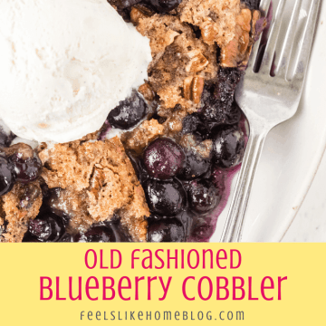 close up of one slice of old fashioned blueberry cobbler topped with ice cream