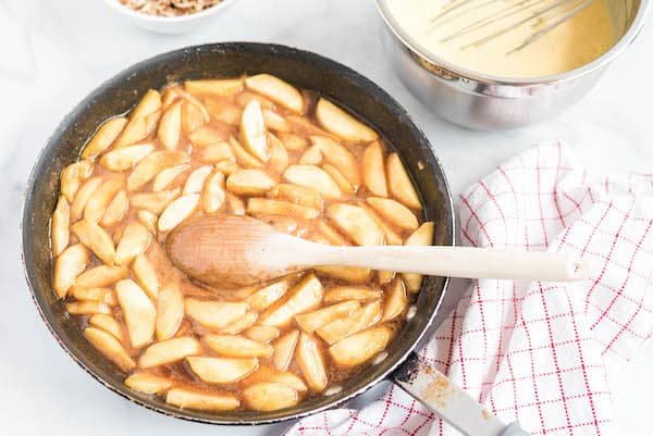 fried apples in the skillet