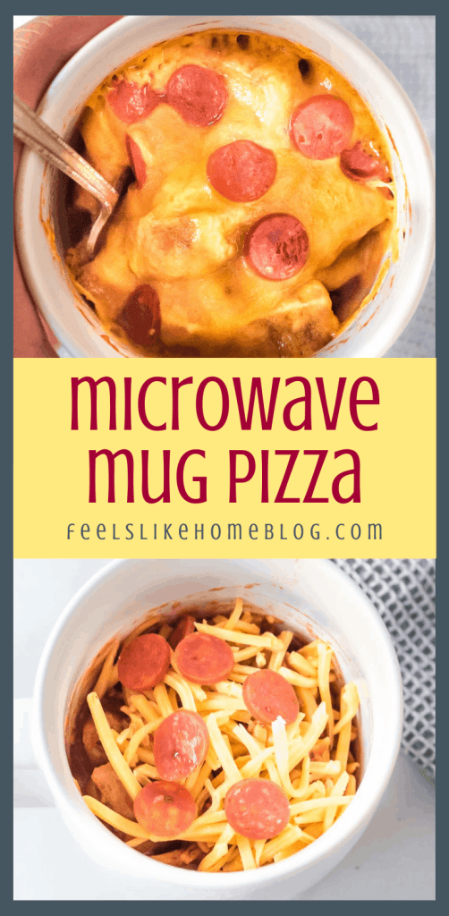 collage of two microwave pizzas in a mug