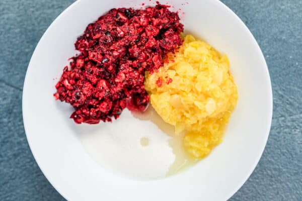 chopped cranberries, pineapple, and sugar