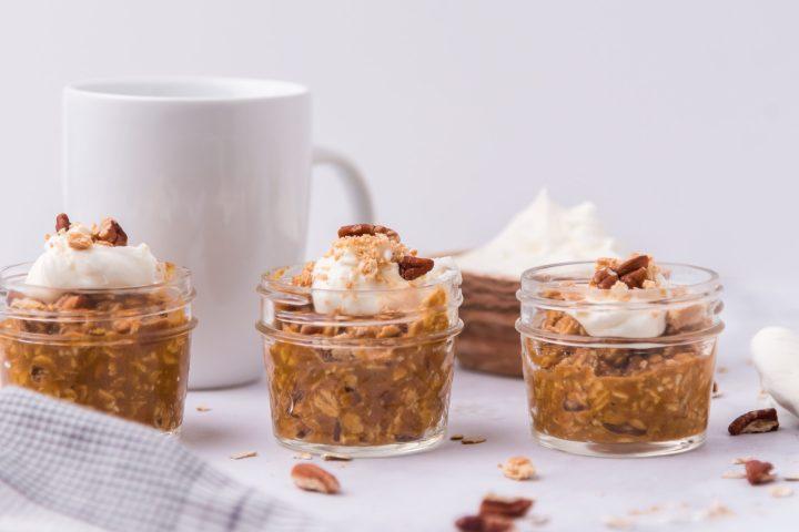 overnight oats with a mug of coffee