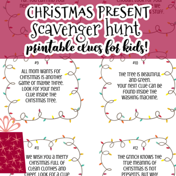 Christmas present scavenger hunt clues