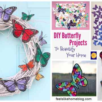 a collage of butterfly home decor projects