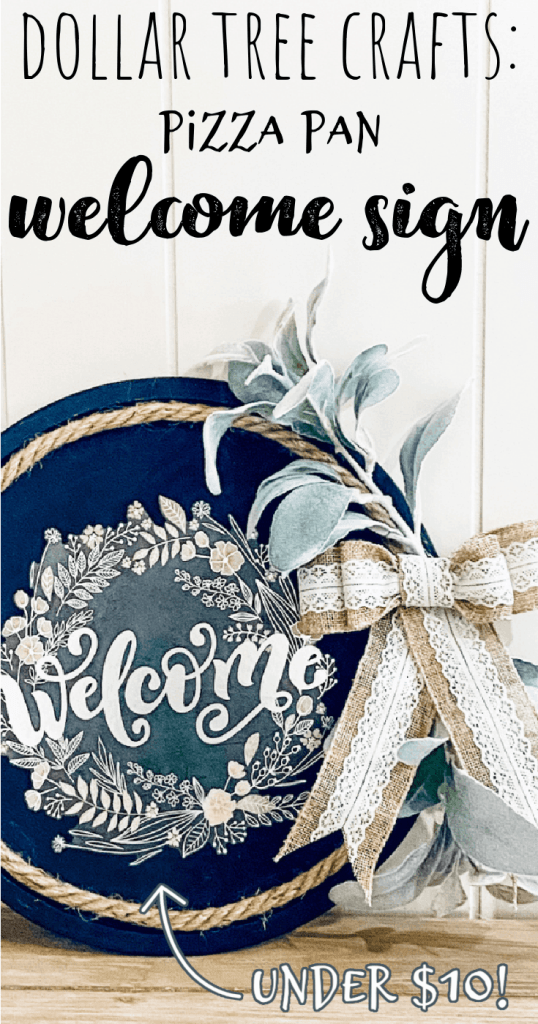 finished welcome sign wreath hanging against a door