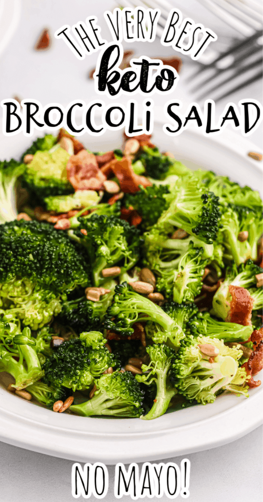 a closeup of low carb broccoli salad in a white bowl