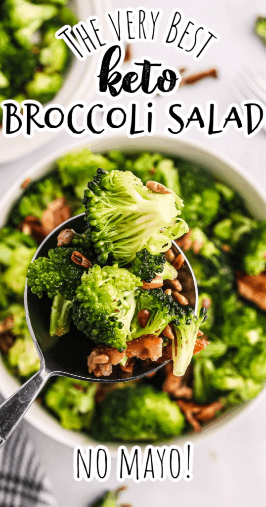 a spoonful of keto broccoli salad with olive oil and no mayo
