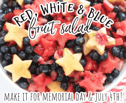 fruit salad with star shaped peaches, watermelons, strawberries, and blueberries