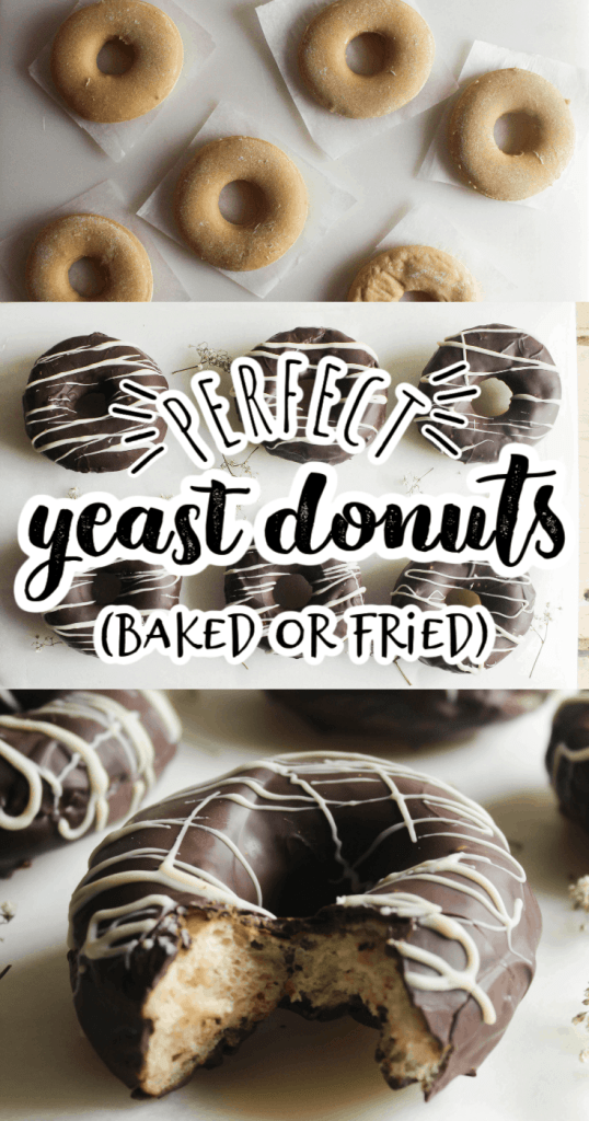 a collage of yeast donut pictures