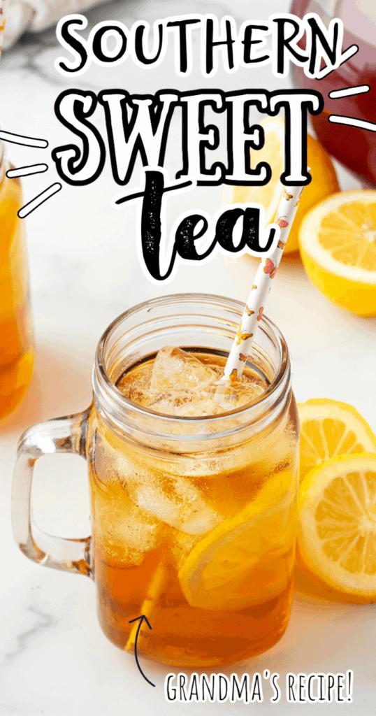 sweet tea in a mug with a straw