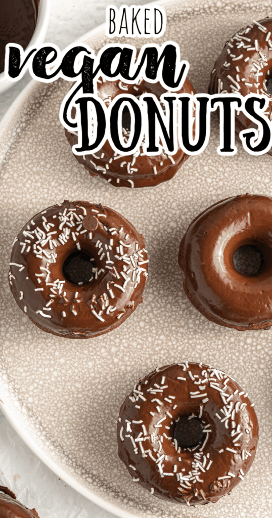 a tray of vegan chocolate donuts