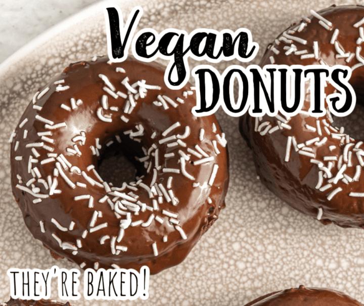 vegan chocolate donut with white sprinkles