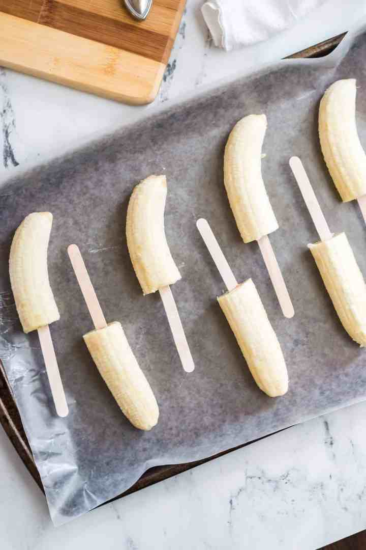 bananas with popsicle sticks