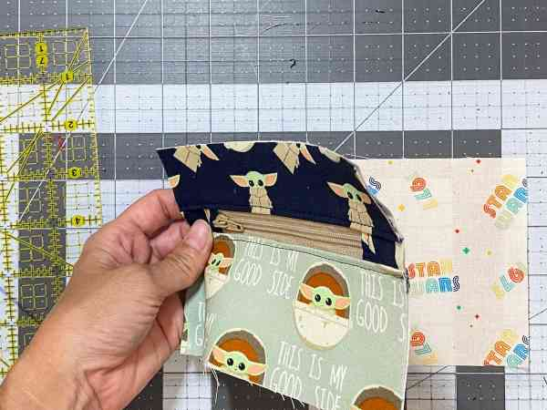 place the pocket on top of the lining