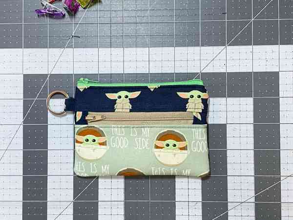 push the lining into the pouch and attach the split ring to the loop