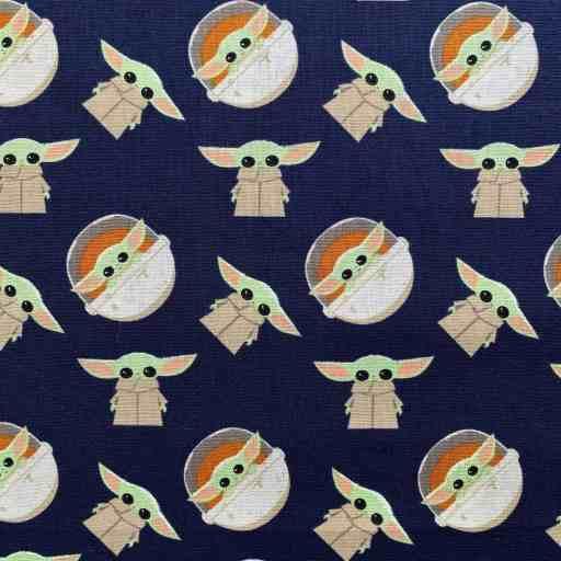 navy blue Baby Yoda fabric sample