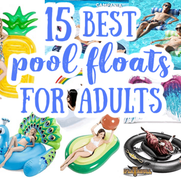a collage of pool floats for adults