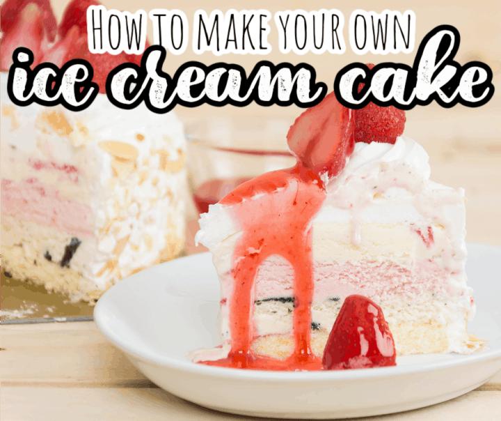 one slice of homemade strawberry ice cream cake