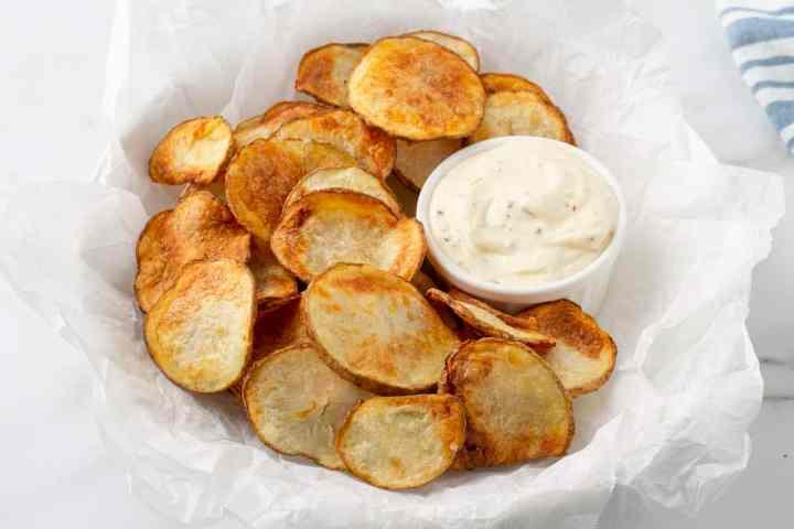 homemade air fryer potato chips with garlic aioli