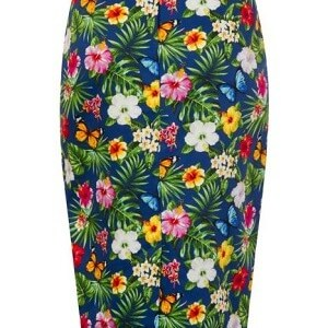 Wiggle Skirt – Summer Floral – Navy