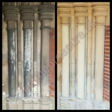 Stone Cleaning to Church before and after