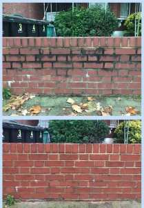 Residential brick cleaning - Before and After brick wall