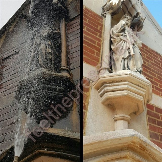 before and after pressure cleaning limestone and york stone
