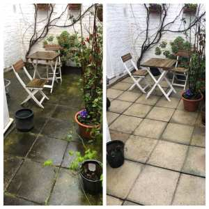 Pressure Cleaning Before and After on Concrete Patio in Surrey