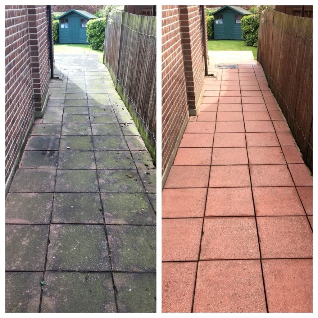 red concrete before & after jet washing service, epsom, surrey