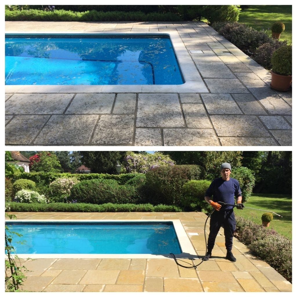 Patio around swimming pool in Surrey pressure cleaned