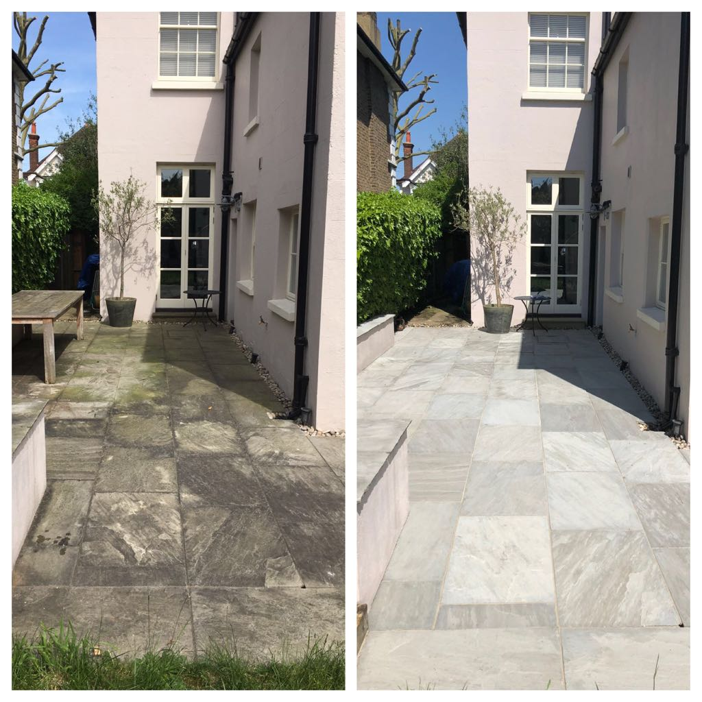 Grey Indian sandstone patio black spot removal and pressure cleaning Hampstead, London