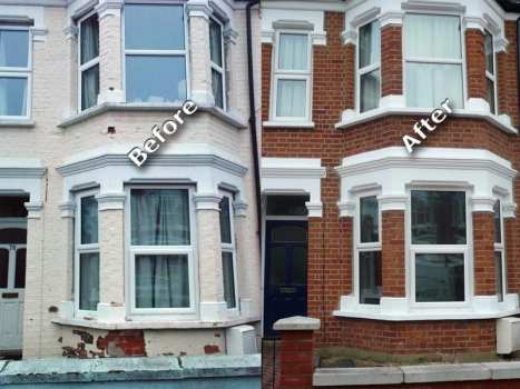 paint removal service on red bricks in london