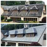 Before and after roof cleaning with doff / therma-tech super-heated steam cleaner