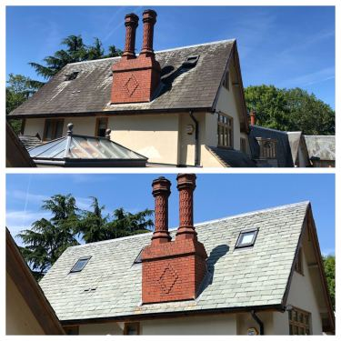 pressure cleaned slate roof in Barnet, hertfordshire,