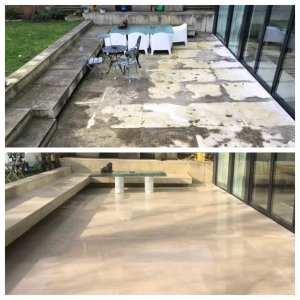 Portland stone patio cleaning service Cobham, Surrey
