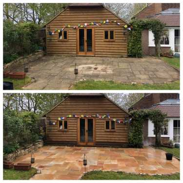 Feel the pressure UK Indian sandstone patio cleaning