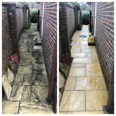 Expert patio black spot removal service – Yellow imprinted concrete